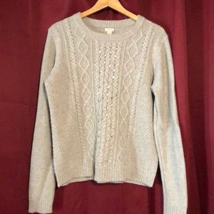 J Crew Cable knit sweater with bling. Sz XL
